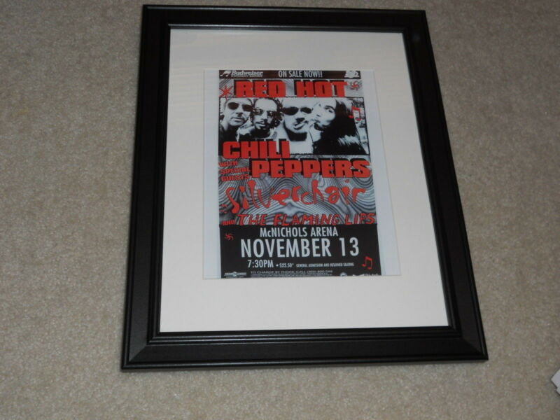 "Framed Red Hot Chili Peppers 1995 Denver, CO Concert Mini-Poster 14""x17"""