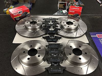 FORD FOCUS ST MK2 2.5 225CROSS DRILLED GROOVED BRAKE DISC MINTEX PADS FRONT REAR