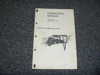 Sperry New Holland Mounted Rolabar Rake 57 Owner Operator Maintenance Manual