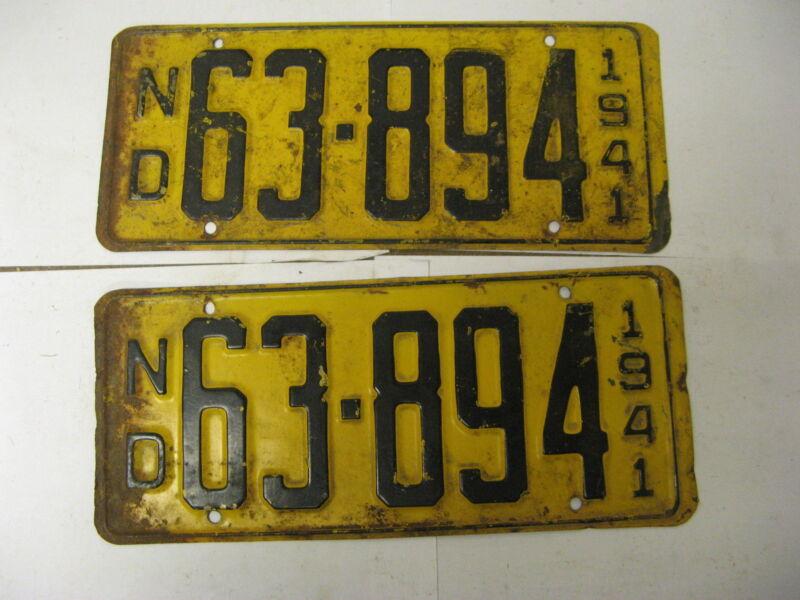 1941 41 North Dakota Pair License Plate 63-894