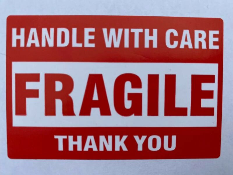 """50 (Fifty) FRAGILE Handle With Care Stickers 2"""" x 3"""" Self Stick Shipping Labels"""