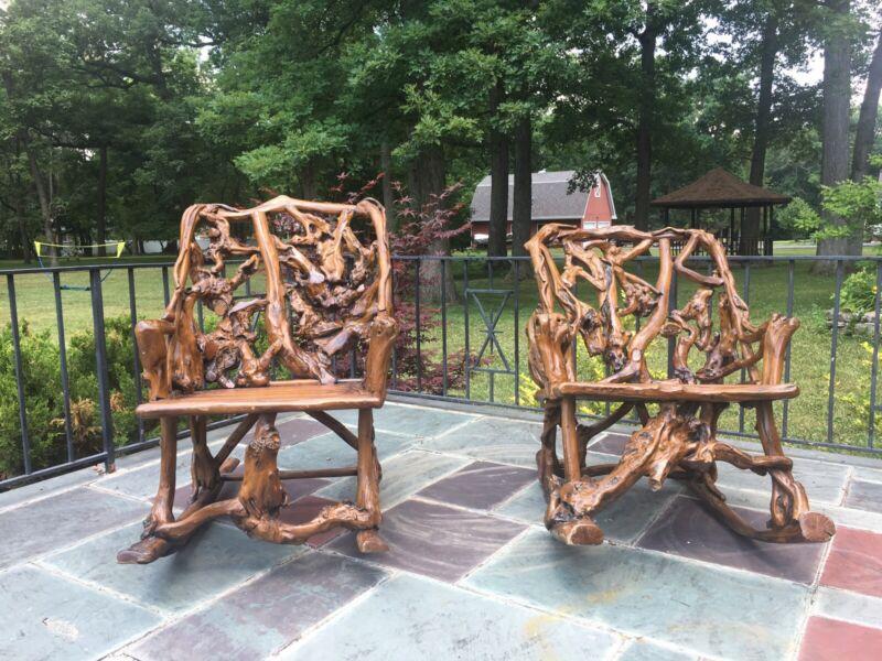 Rare!! Adirondack Root Rocking Chair.