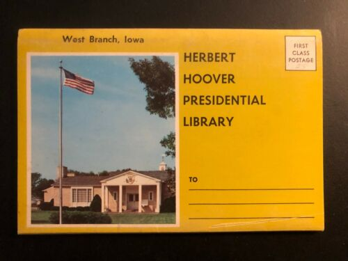 """Old Vintage""""HOOVER Presidential Library IOWA"""" Fold Out Views. Made in USA"""