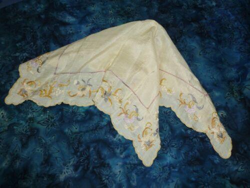 Antique Royal Society Silk Hanky Vintage Embroidery Handkerchief Victorian -