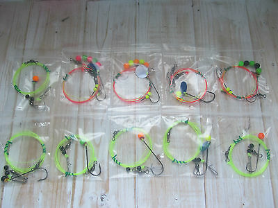 Sea fishing Rigs x 10: Pulleys / flappers strong winter shore rigs - Cod rigs