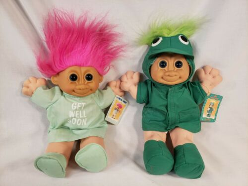 Vintage Russ Troll Kidz Plush Dolls Green Froggie & Get Well Soon 12 inch