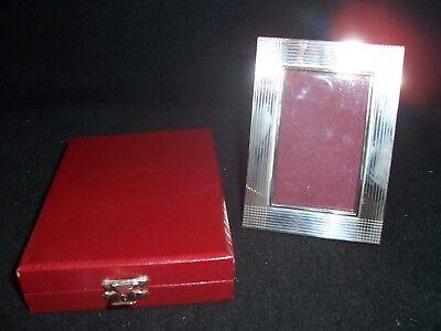 "Vintage Silver Easel Picture Frame 2"" x 3"" Image Original Box Unused"