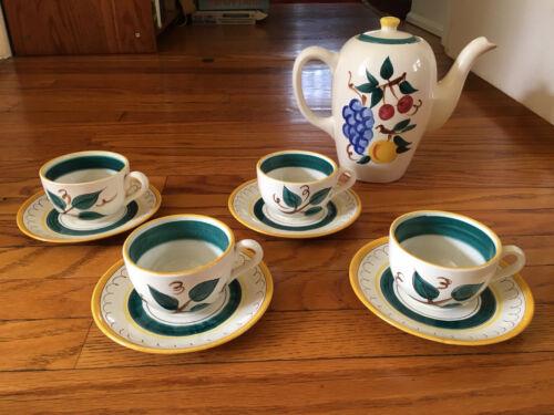 Set of 4 Vintage Cups & Saucers Stangl Pottery Fruit