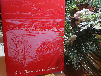 Vtg 1950's Jacksonville Illinois IL Grey on Red Christmas CArd CHURCH Village  - Grey Christmas Card