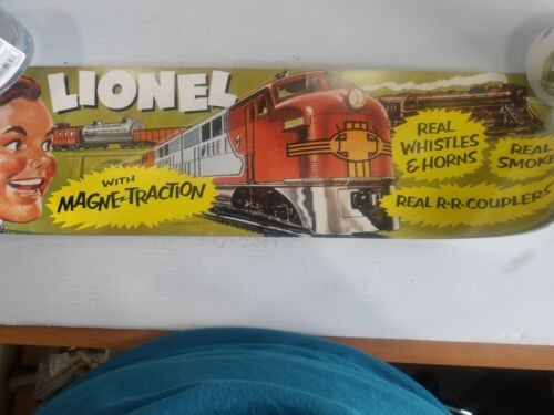 Lionel Trains with Magne Traction, Lime Green background with 2 boys poster, New