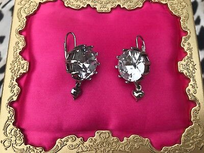 Betsey Johnson Iconic Glam Bow Large Clear Crystal Silver Puffy Heart Earrings Large Glam Bow