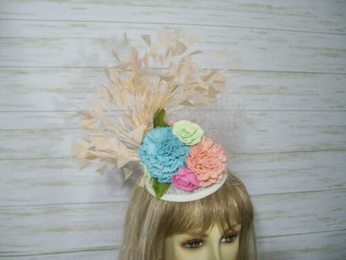 Kentucky Derby Sinamay Floral Fascinator Hat Easter Hat Wedding Hat Tea Party
