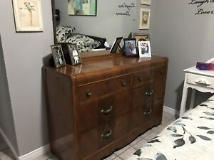 Vintage Waterfall Dresser and Mirror