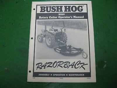 Bush Hog Razorback Rz60 Rz 60 Rotary Cutter Mower Nos Original Book Manual
