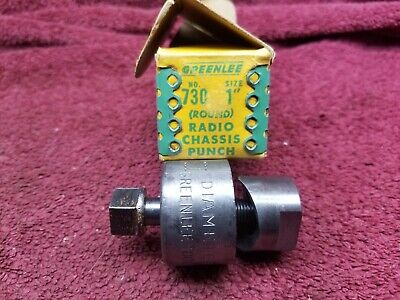 Vintage Greenlee No.730 Round Radio Chassis Knockout Punch Box 1 Diameter
