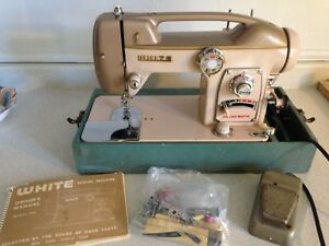 Vintage White Sewing Machine Model 764 With Attachments