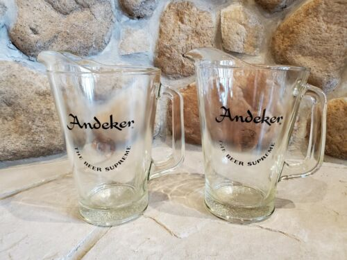 "Vintage Lot of 2 Andeker PABST ""The Beer Supreme"" Glass Pitcher - Rare"