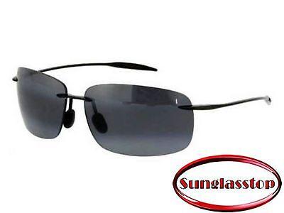 NEW Maui Jim Sunglasses 422-02 Breakwall Black Frame / Grey Polarized Lenses