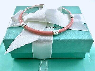 Tiffany & Co. Sterling Silver Pink Enamel X Narrow 7.5in Bangle Bracelet 20818A