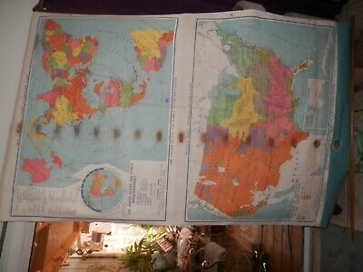Vintage Quiller Johns American History School Canvas Map On Roller, Maps 29 & 30
