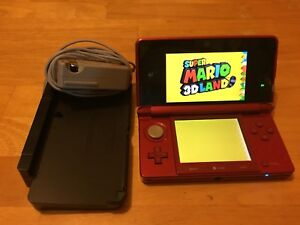 Nintendo 3ds flame red pre-installed Mario 3ds
