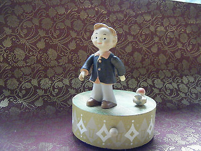 """Vintage ANRI Wood HAND CRAFTED HAND PAINTED MUSIC BOX  """"IT'S A SMALL WORLD"""""""