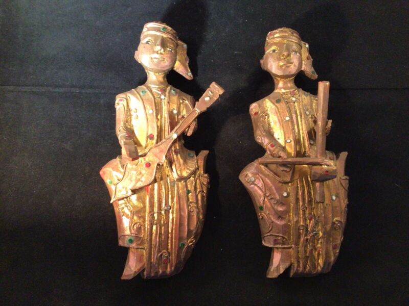 Pair Vintage Mid Century Asian Thai Musicians Carved Wood Wall Hanging Figurine