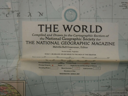 "Vintage ""The World"" Map March 1957 National Geographic"