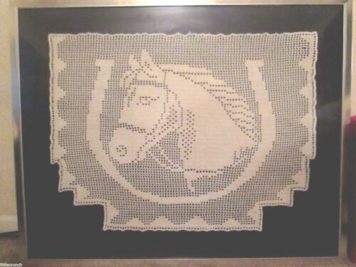 ANTIQUE CIRCA 1900 HAND CROCHETED  LARGE HORSE PROFESSIONALLY FRAMED TEXTILE