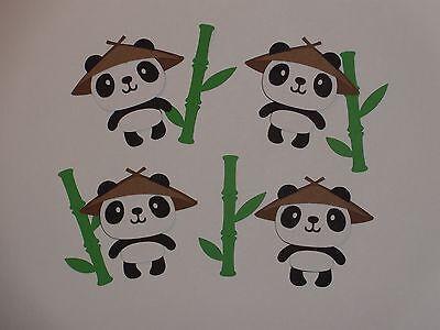 4 panda bears 4 bamboo die cuts  scrapbooking die cuts