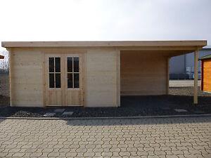 44mm Gartenhaus KÖLN ca. 7x3m inkl.Terrasse, m. Fußboden. 4x3m Haus +3m Terrasse