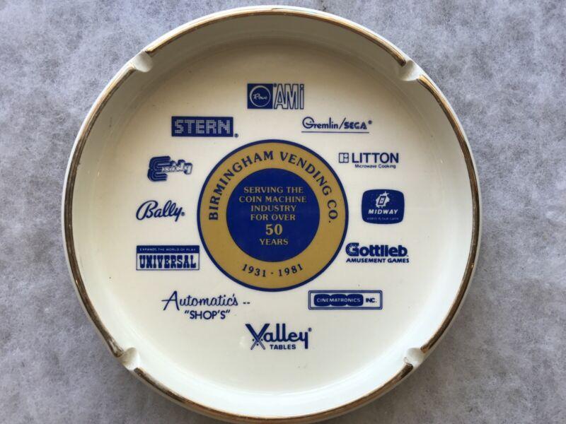 1981 Birmingham Vending Co. Vintage Ceramic Ashtray