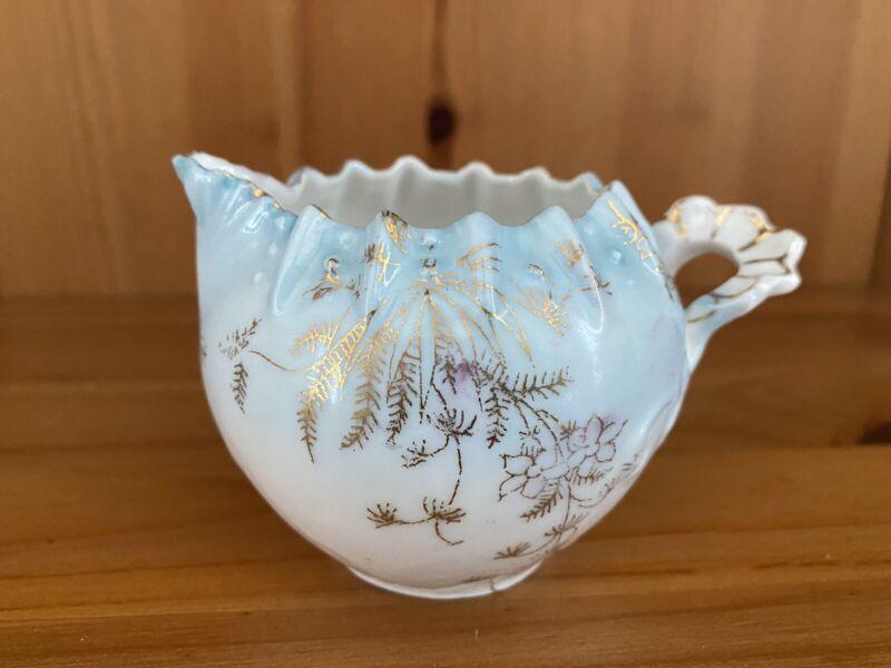 Vtg Porcelain Creamer Pitcher Blue White Gold Gilt Floral Design Trim Accents
