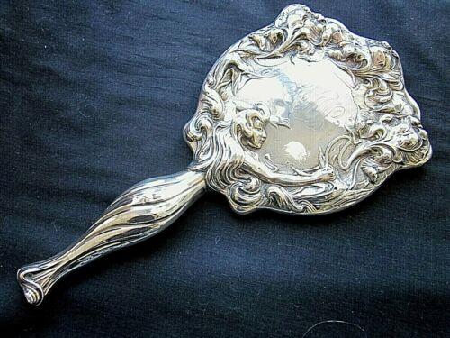 Lg Repousse Antique  HAND MIRROR  Figural WOMAN  Sterling Silver ART NOUVEAU