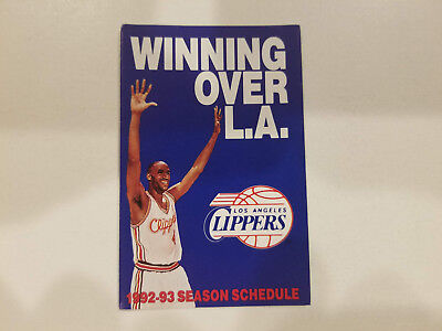 Los Angeles Clippers 1992 93 Nba Basketball Pocket Schedule   Fatburger