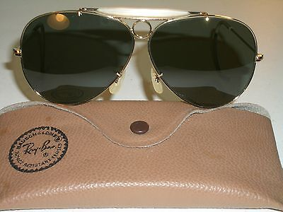 99c3e1d04a1  468.07 - 1960 s VINTAGE B L RAY BAN USA GOLD ELECTROPLATE G15 SHOOTERS  AVIATOR SUNGLASSES