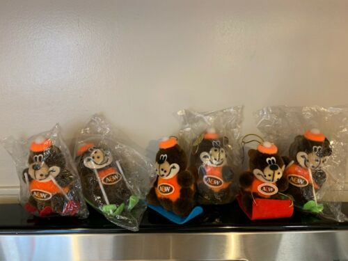"""Vintage A&W Root Beer Plush Promotional Toy Mascot """"Rooty"""" Bear  LOT OF 6"""