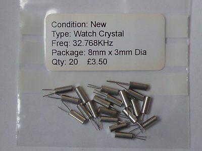 Watch Crystal 32.768KHz 8mm x 3mm Dia Job Lot of 20