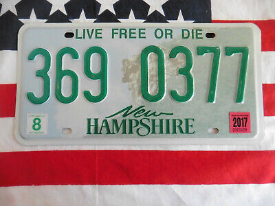 US NEW HAMPSHIRE 369 0377 AUTO CAR KENNZEICHEN NUMMERNSCHILD PLATE SCHILD OF USA