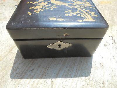 29353 altes Kästchen Schmuckschatulle jewlery box Lackarbeit Asien 14x 10x 8cm