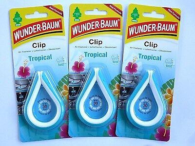 Saftige Kokos ((3,05€/10 g) 3x 12 g WUNDER-BAUM® Clip Tropical Autoduft Lufterfrischer Duftclip)