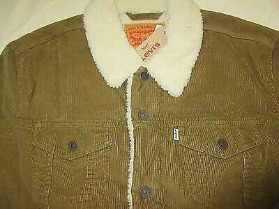Levis Mens Sherpa Fleece Lined Trucker Jacket Brown Corduroy Snap Front NWT  Sherpa Corduroy Jacket