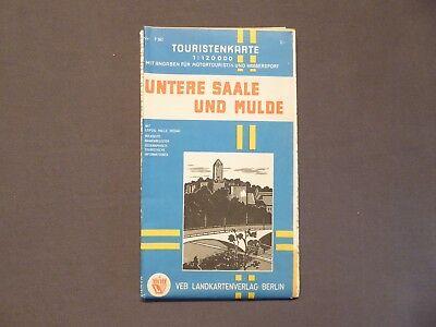 Landkarte, Touristenkarte Untere Saale und Mulde, Leipzig, Halle, Dessau, 1969