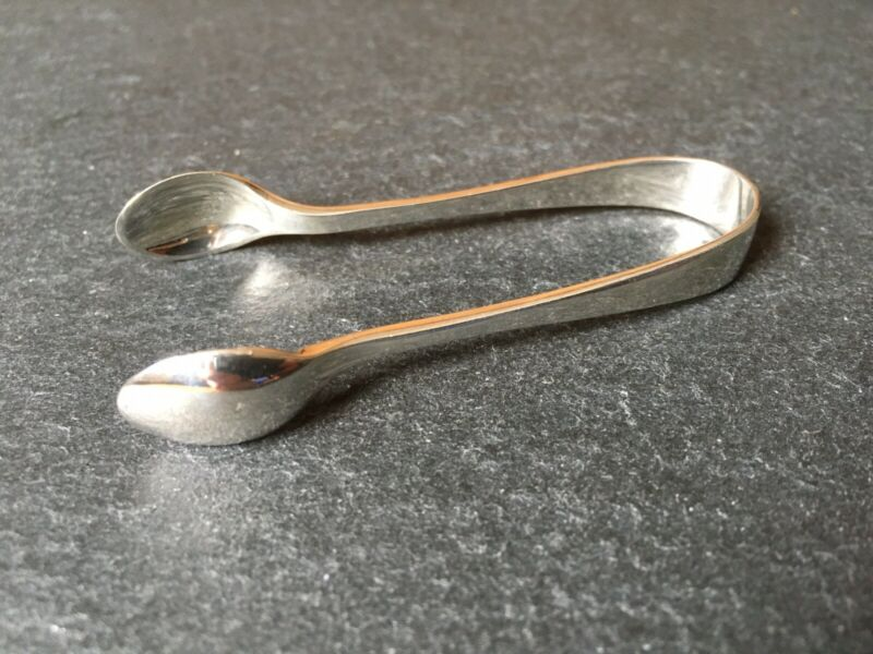 Pair Of Small Antique 1914 Solid Sterling Silver Sugar Tongs / Nips 70mm Long