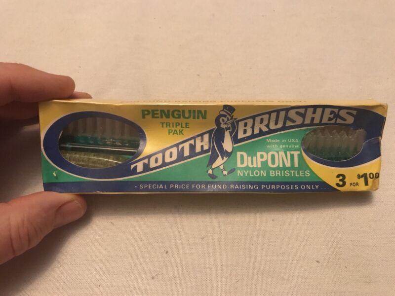 Penguin Tooth Brushes Vintage Original Package,1960's, Dupont Nylon Bristles