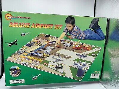 Police Die Cast NIB/ Mega Toys- Mega Movers Deluxe Airport w/ Mat & 16 Vehicles