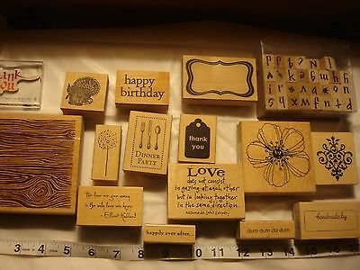 Craft Stamps--- Wood Mount Rubber Stamp Collection Lot (15)