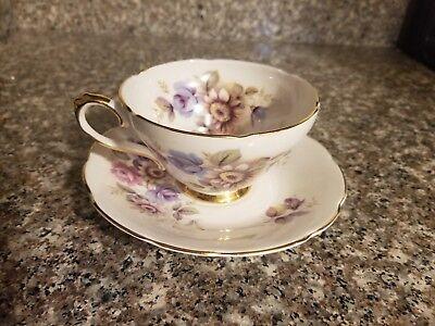 Tea Cup & Saucer Royal Sutherland Staffordshire England - Pink Purple Flowers