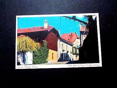 TWA Getaway Advertising Postcard, Switzerland Scene, Unposted, one corner bend