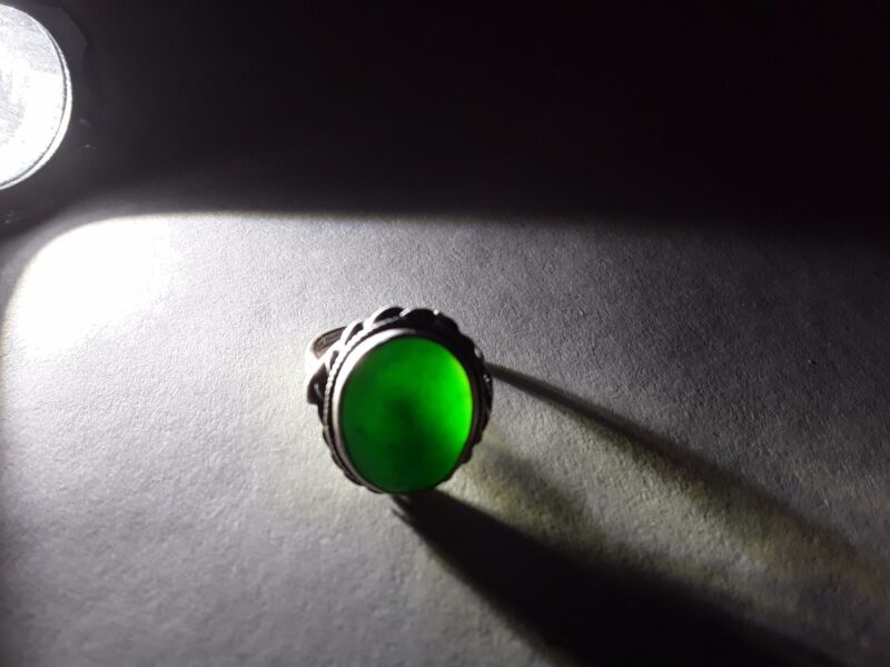 "Antique Chinese Silver and ""A"" Jade Ring"